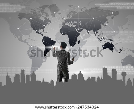 Businessman pressing on digital virtual screen, globalization marketing conceptual - stock photo
