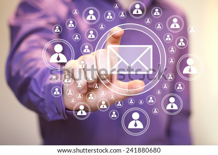 Businessman pressing online icon messaging mail sending - stock photo