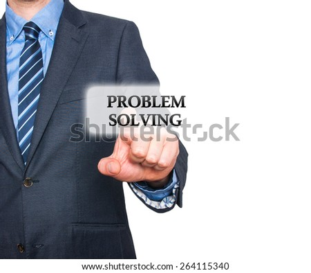 Businessman pressing Problem Solving  button on visual screen. Isolated on white background. Stock Photo - stock photo