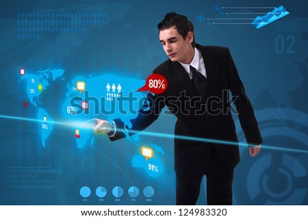 Businessman pressing social media button on digital map, futuristic technology - stock photo