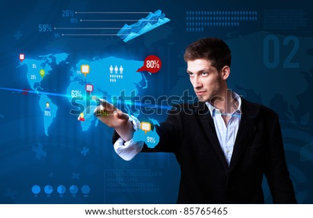 Businessman pressing social media button on the map, futuristic technology - stock photo