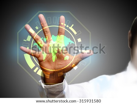 Businessman pressing social network structure - stock photo