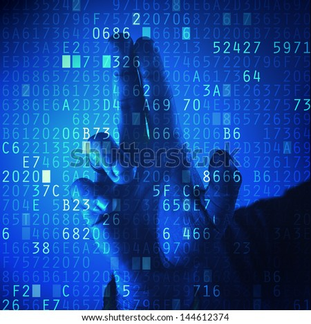 Businessman pressing touch screen button with hexadecimal code. Password protection. Heartbleed bug concept, - stock photo