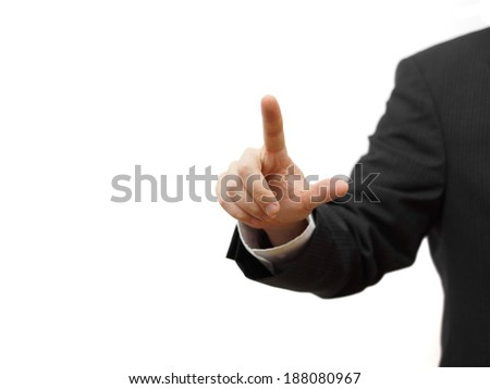 Businessman pressing virtual button, ready for  text