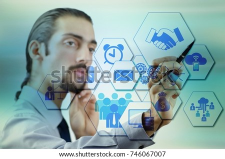 Businessman pressing virtual buttons in business concept