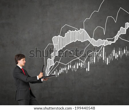 Businessman producing forex quotation.  - stock photo