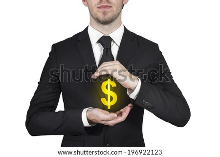businessman protecting golden dollar money symbol with hands