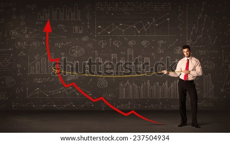 Businessman pulling a red arrow upright with a rope concept on background - stock photo