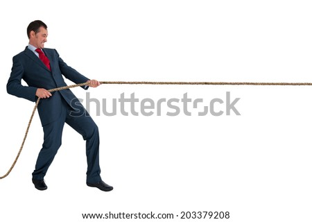 businessman pulling a rope isolated on a white background - stock photo