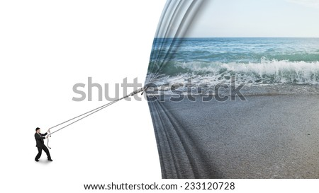 businessman pulling open sea sandy beach curtain covered blank behind isolated on white background - stock photo