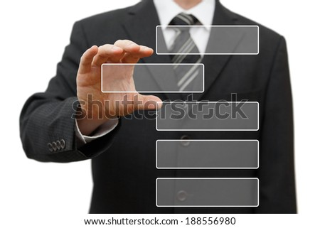 businessman pulling out bar from group. Ready for sample text - stock photo