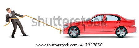 Businessman pulling red car isolated on white background - stock photo