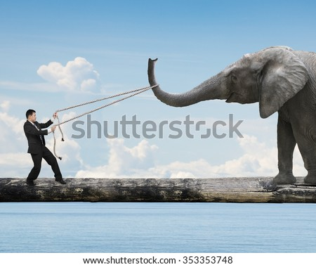 Businessman pulling rope against a big elephant balancing on tree trunk, with blue sky sea background.