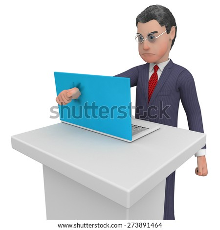 Businessman Punches Laptop Indicating Commercial Corporate And Keyboard - stock photo