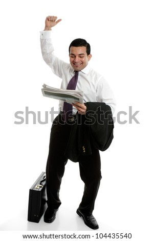 Businessman punching the air in success, celebration or accomplishment - stock photo