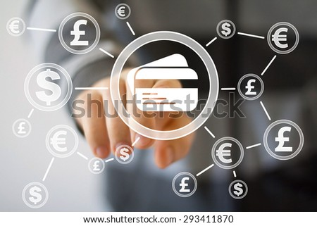 Businessman push button credit card dollar eur web currency - stock photo