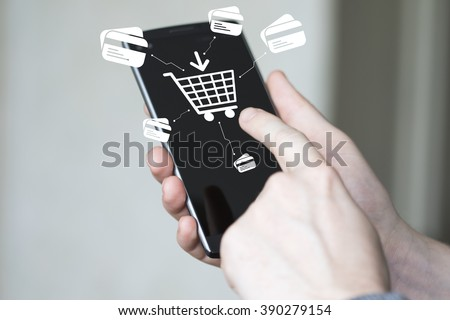 Businessman push button shopping web credit card online