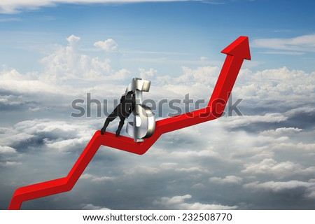 businessman push 3D dollar sign upward on red trend line with cumulus cloudscape background - stock photo