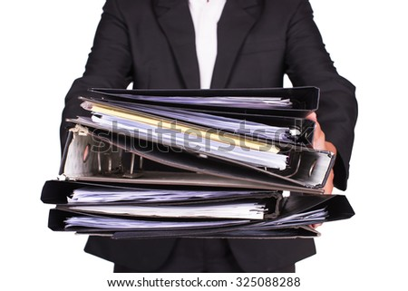 businessman push many file,Accounting and business concept,isolate image - stock photo
