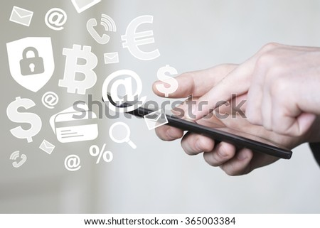 Businessman push on cell phone check mail currency shield security virus - stock photo