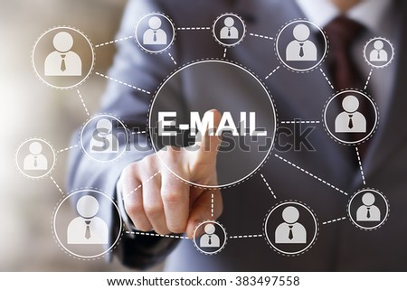 Businessman push online button mail icon