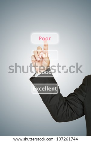 Businessman push Poor button