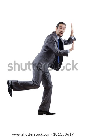 Businessman pushing away virtual obstacles