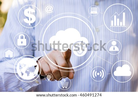 Businessman pushing button cloud protection antivirus web security shield