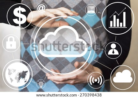 Businessman pushing button icon cloud online - stock photo