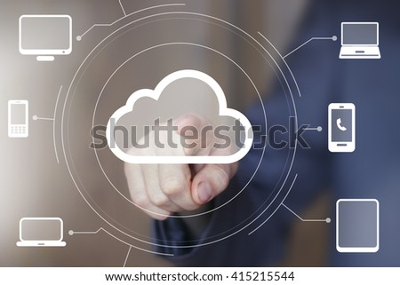 Businessman pushing button mail cloud online computer