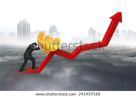 businessman pushing 3D euro sign at starting point of red trend chart with cloudy sky cityscape background - stock photo