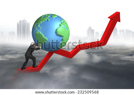 businessman pushing 3d globe at starting point of red trend line with gray cloudy sky cityscape background - stock photo
