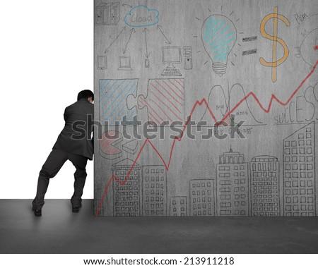 businessman pushing doodles concrete wall away on white background - stock photo