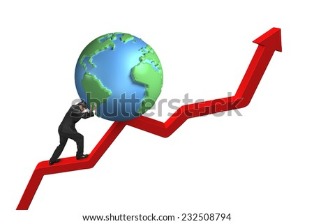businessman pushing globe upward on red trend line with white background - stock photo