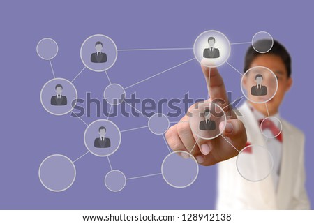 Businessman pushing human button and Social Network on the blue background - stock photo