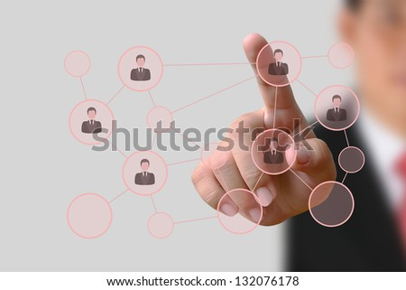 Businessman pushing human button and Social Network on the white background - stock photo