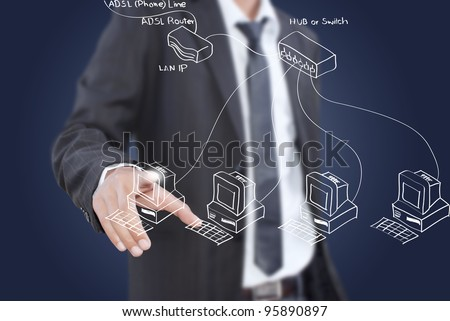Businessman pushing LAN diagram on the whiteboard. - stock photo