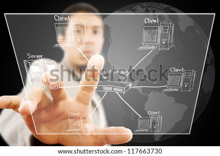 Businessman pushing LAN Network diagram on the Touchscreen Interface. - stock photo