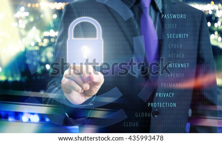 Businessman Pushing Lock Icon of Virtual Touchscreen in Internet Security Concept Image - stock photo