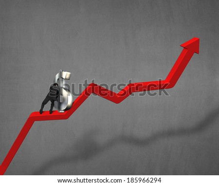 Businessman pushing money symbol on growing red arrow - stock photo