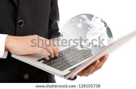 Businessman pushing on laptop keyboard for Business Concept with World Map Globe. - stock photo