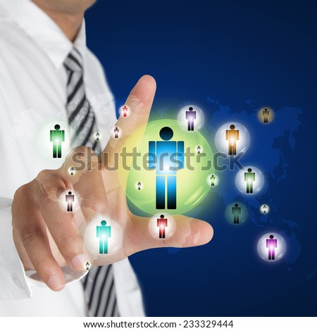 Businessman pushing on person, Social Network