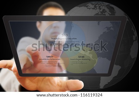 Businessman pushing SEO process on the Touchscreen Interface. - stock photo