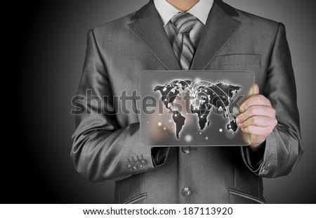 Businessman pushing shopping cart - stock photo