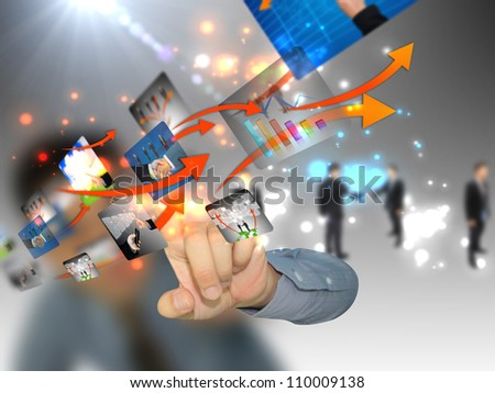 Businessman pushing social media - stock photo