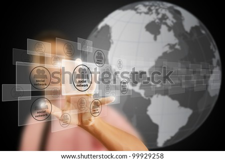 Businessman pushing Social Network button. - stock photo