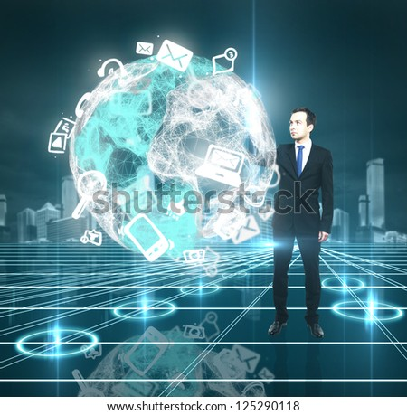 businessman pushing to interface abstract earth - stock photo