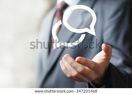 Businessman pushing virtual icon web button cloud message sign - stock photo