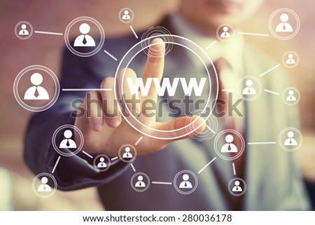 Businessman pushing web button www icon - stock photo