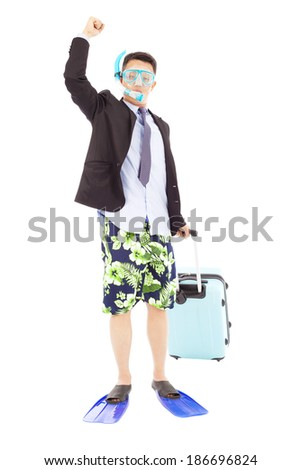 businessman put on  scuba gear and raise hand - stock photo